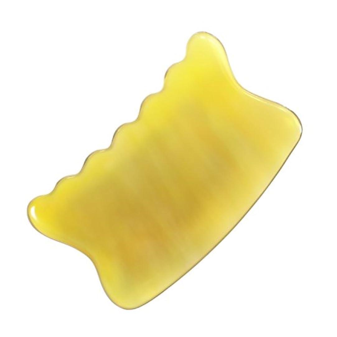 ソブリケット拒絶する祈りかっさ プレート 希少68 黄水牛角 極美品 曲波型