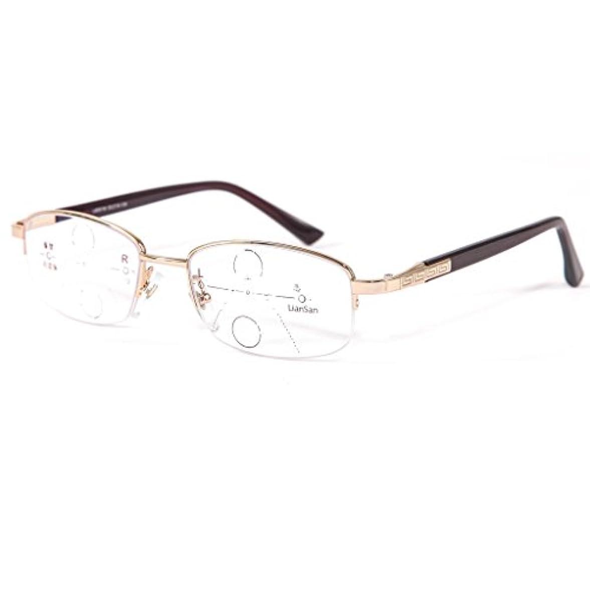 (レンサン) LianSan累進多焦点 遠近両用老眼鏡 男性 女性 メンズ レディース フルリム おしゃれな リーディンググラス シニアグラス 遠近両用メガネ 8551 (+1.00, ゴールド)