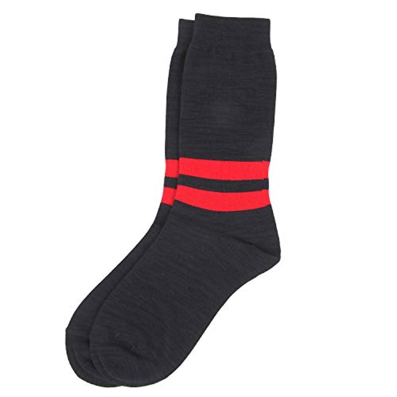 二層代わりの魔女Deol(デオル) ラインソックス 男性用 メンズ [足のニオイ対策] 長期間持続 日本製 無地 靴下 紺 25cm-27cm