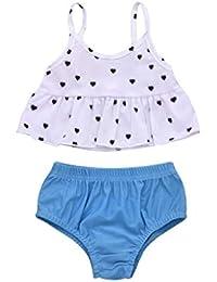 52d60ab5efae02 Jopinica 子供水着 こども ラブプリント スリングトップ 単色 トライアングルショーツ スーツ ファッション キュート ワンピース水着 子供水着  2019年の最新 女の子…