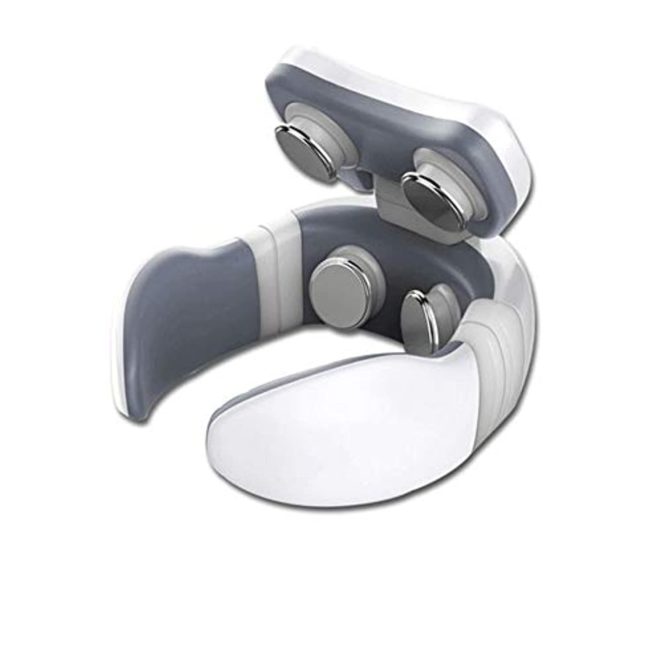 胴体観察するカカドゥネックマッサージネック保護器4パルスマウント健康的なことで、インテリジェント頚椎首と肩のマッサージ,白