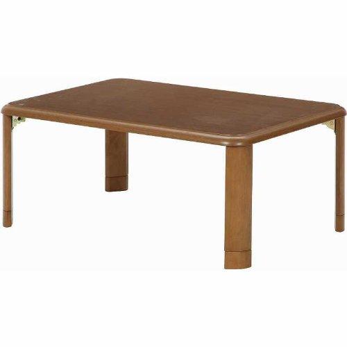 不二貿易 テーブル 折りたたみテーブル 軽量 高さ調節可能 90×60cm ミディアムブラウン 10036