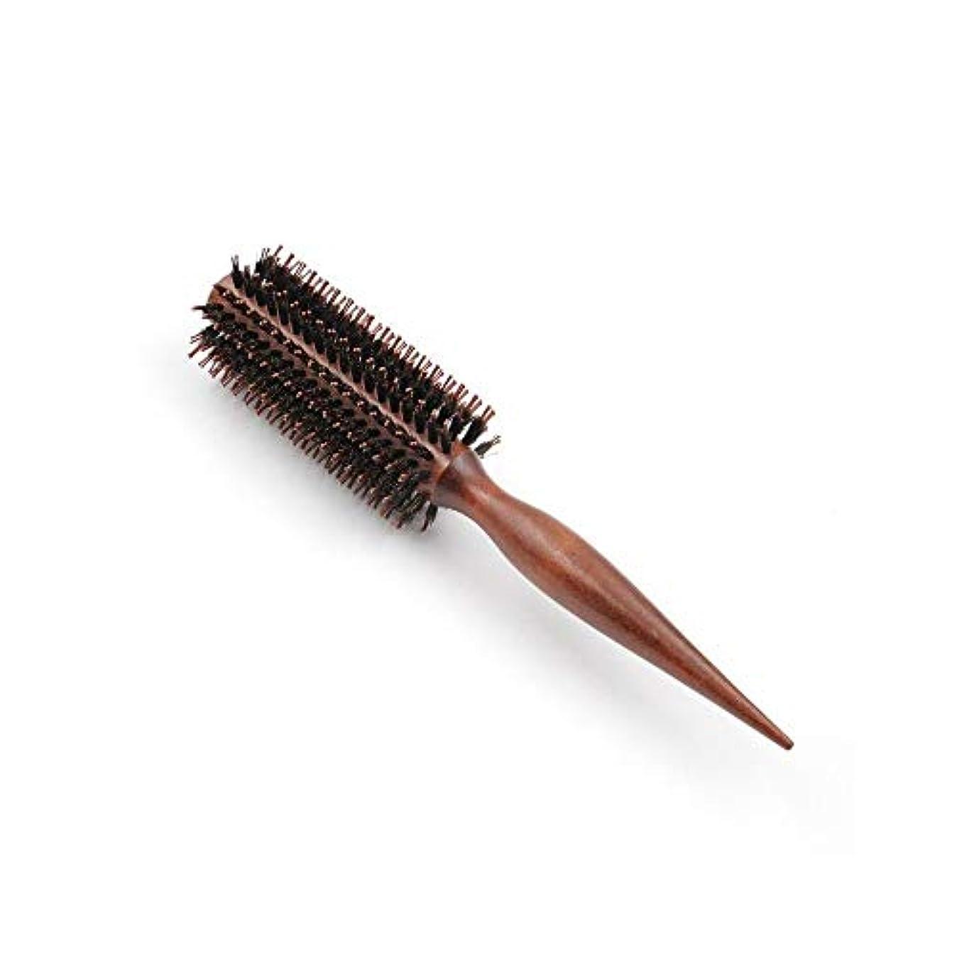 光のリーク北米ヘアコーム理髪くし 髪の毛ラウンドブラシはサロンのヘアデザインのためのドライ木製ローリングくしフェラ ヘアスタイリングコーム (Color : Straight, Size : 10 rows)