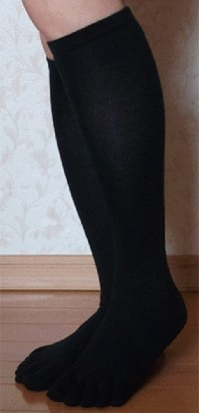 乳レンディション句読点着圧5本指ハイソックス 段階式圧力設計 美脚ハイソックス 黒色 23-25cm 2足組
