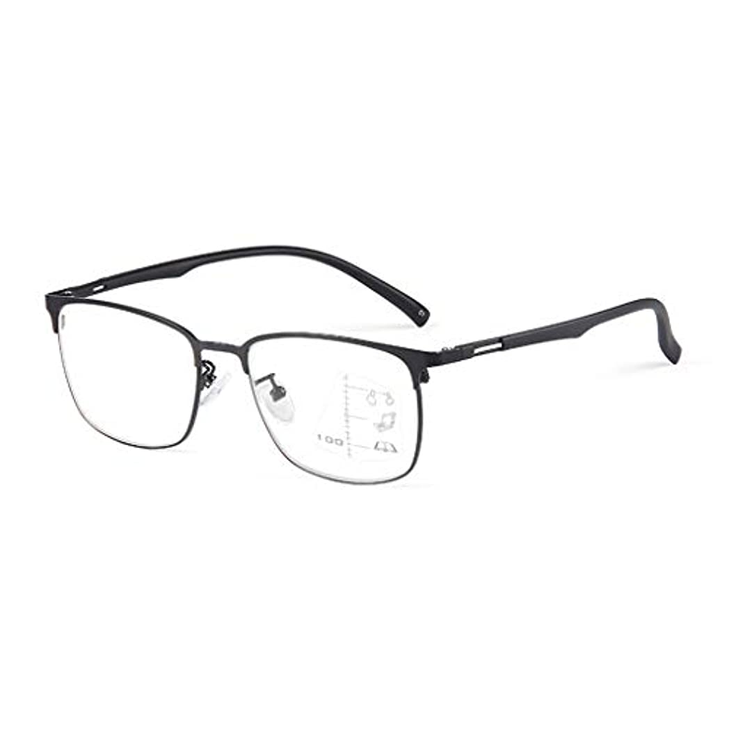 インテリジェント老眼鏡 メンズリーディングメガネ、インテリジェントズームプログレッシブマルチフォーカルリーディングメガネ、ブルーライトブロッキングリーダーメガネ、遠近両用、TR90メガネ脚付き合金フルフレーム、ブラック