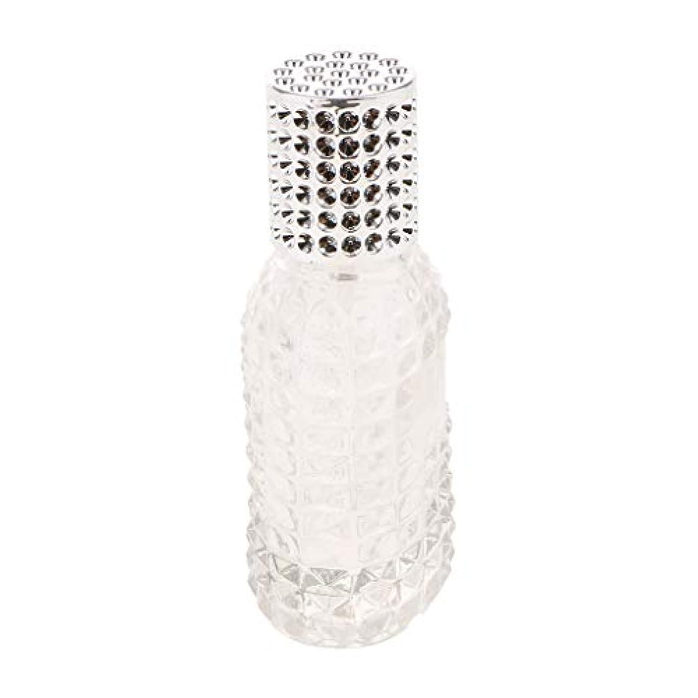 親指戦略ふさわしいSM SunniMix ガラス 香水瓶 空 スプレー香水ボトル 美しいパイナップルデザイン 詰め替え可能 全4種 - シルバー50ml