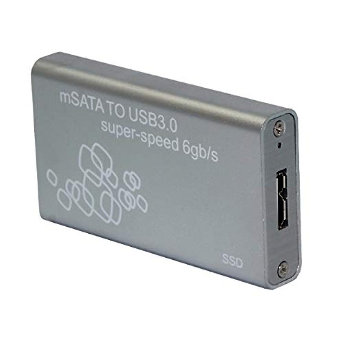 使役ランダム不器用Mini SSD エンクロージャ USB3.0 - mSATA 6Gbs アルミニウム Windows XP Vista 7 8 8.1 Linux Mac対応 (シルバーグレー)