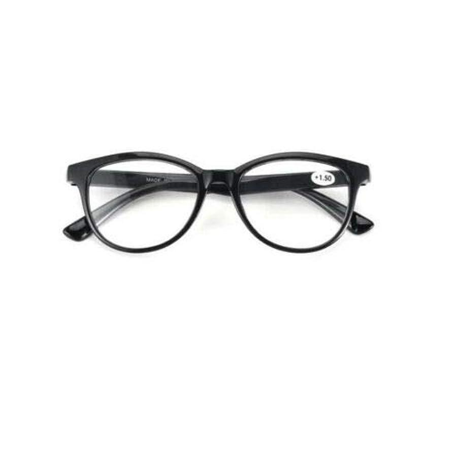 FidgetGear ラウンド老眼鏡女性男性眼鏡プラスチックフレームアイリーダー+ 1.0?+ 3.5 ブラック