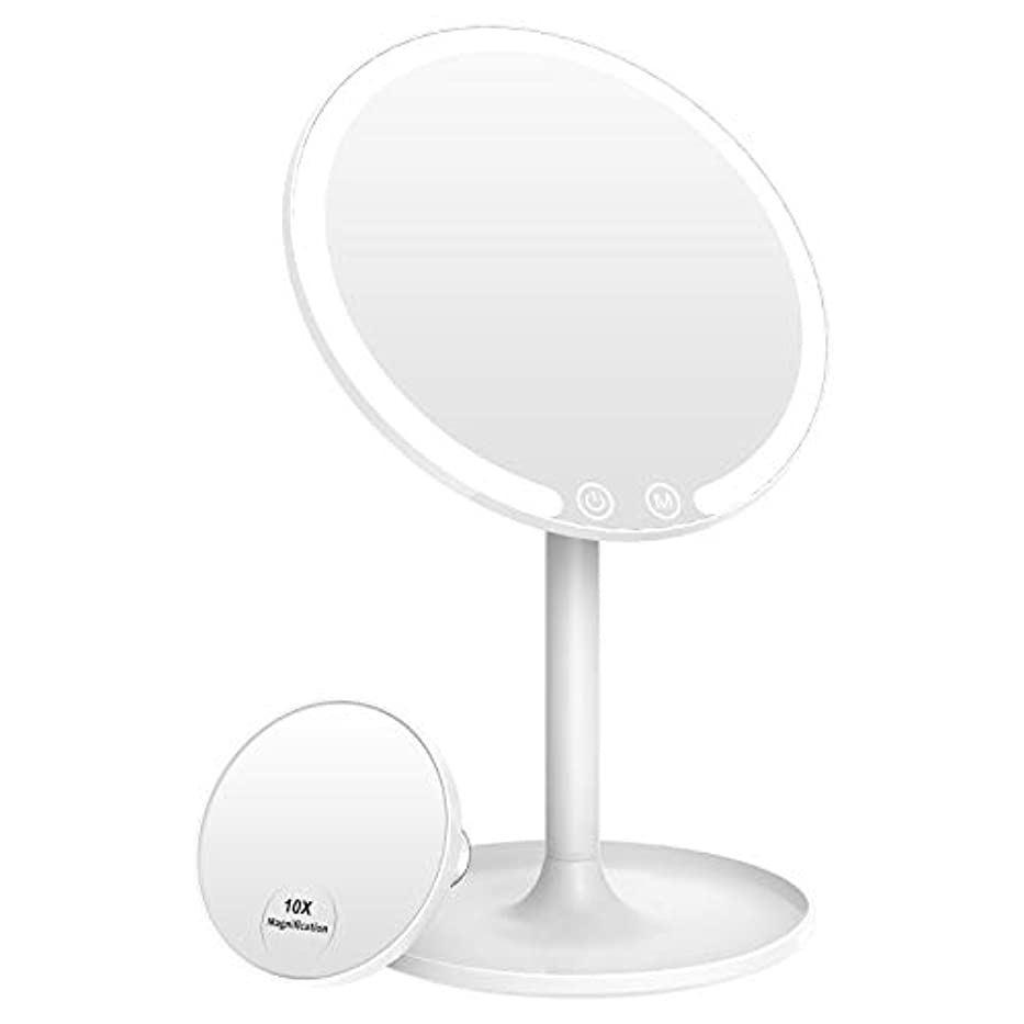 人形イソギンチャク建築Easehold ミニ卓上化粧鏡 化粧ミラー 充電可能 42個LED付き スタンドミラー 3色のライトモード 調光可能 90°回転 1倍/10倍拡大鏡 取り外し可能 指タッチ メイク スキンケア