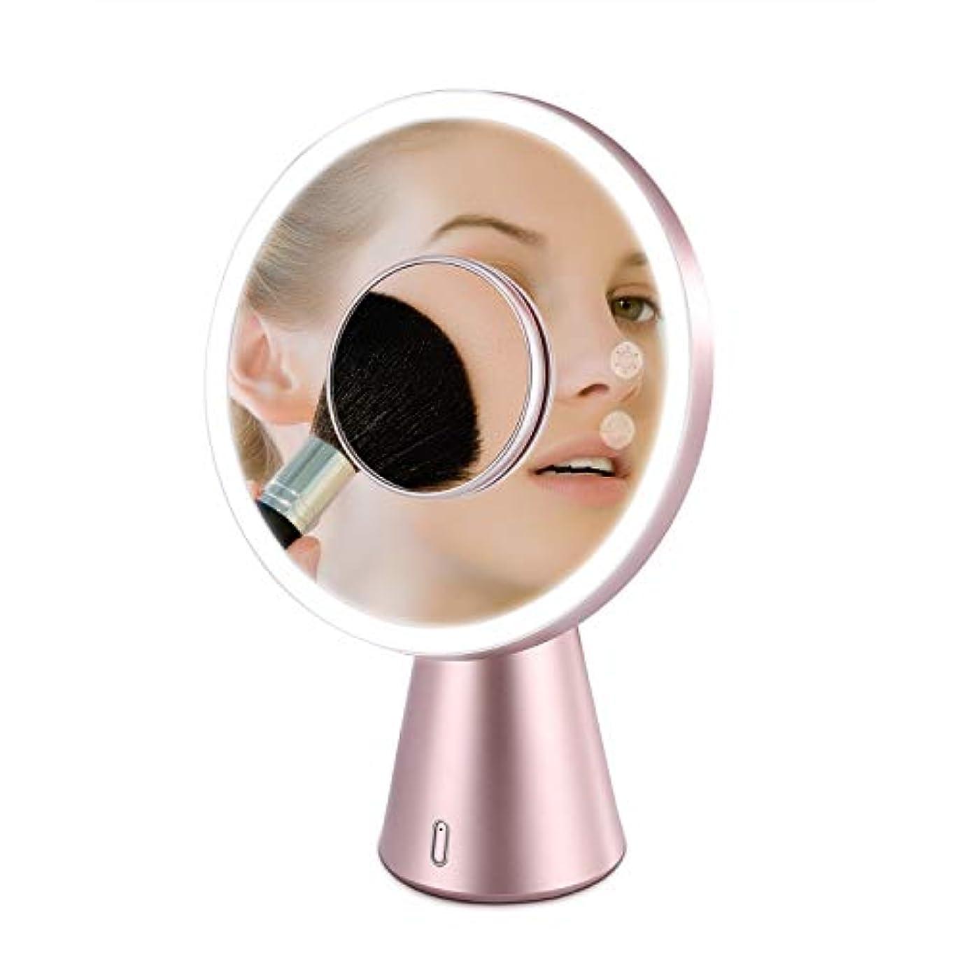 賠償校長証明Fascinate 鏡 化粧鏡 LED ミラー 卓上 5倍拡大 スタンドミラー 美容鏡ledライト付き 明るさ調整可能 USB充電式 ブルートゥーススピーカー デスクライト兼用 日本語説明書付き