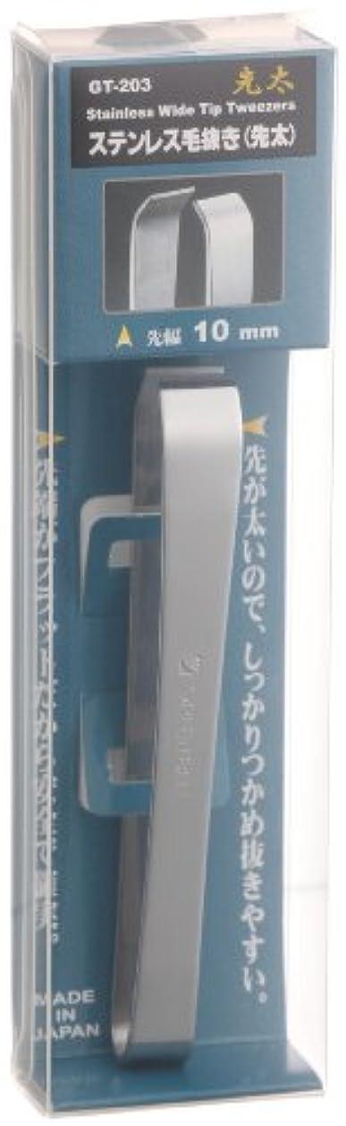 見出しひそかにランデブーステンレス毛抜き(先太) 先幅10mm GT-203