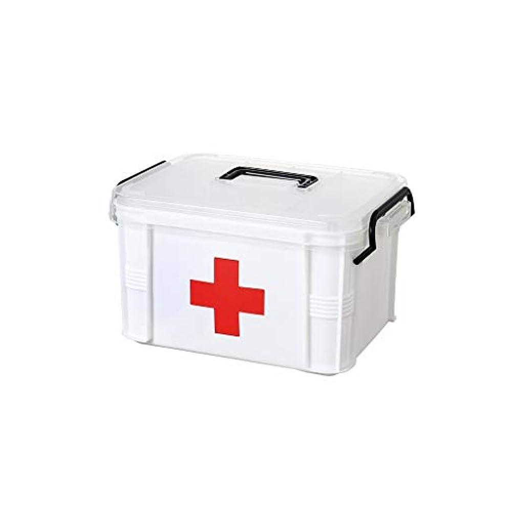 説明するクロール菊家族多層緊急医療収納ボックスプラスチック薬箱医療ボックスポータブル救急箱20.5×15.5×13.5cm GBYGDQ