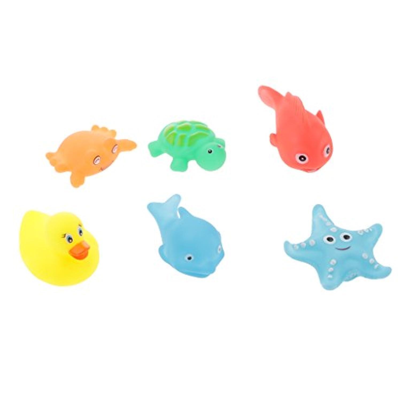 SONONIA 6個 ゴム製 赤ちゃん きしむ お風呂おもちゃ 可愛い動物 多彩 プレゼント