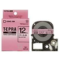 (まとめ) キングジム テプラ PRO テープカートリッジ カラーラベル(パール) 12mm 赤/黒文字 SMP12R 1個 【×5セット】 ds-1581512