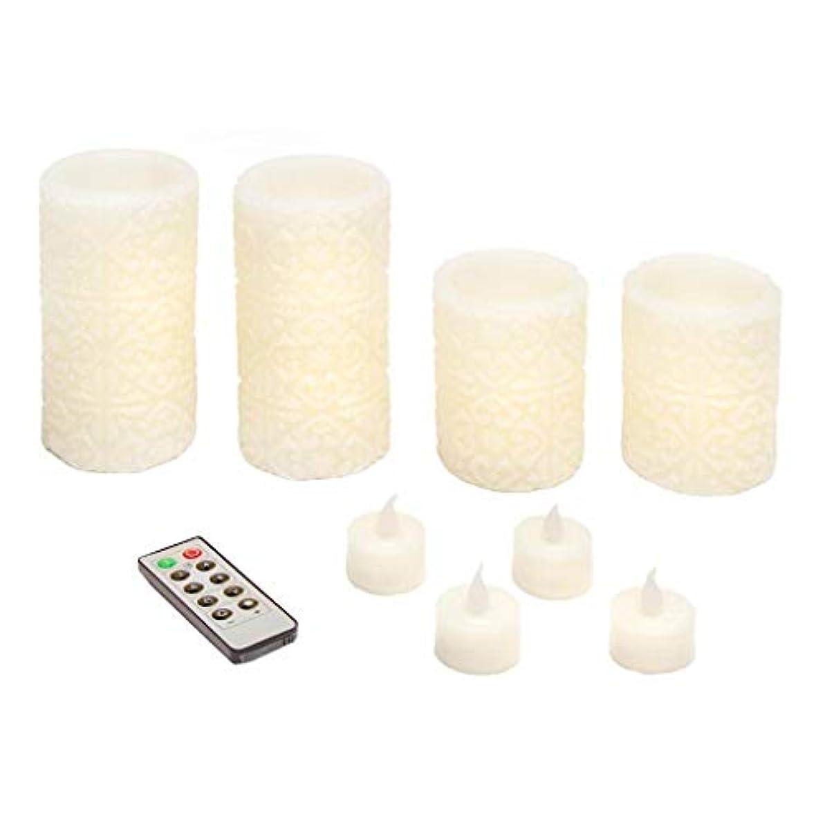 執着常にアブストラクトDarice 彫刻LEDピラーセット アイボリー:4ピラー、4Tライト&リモート。