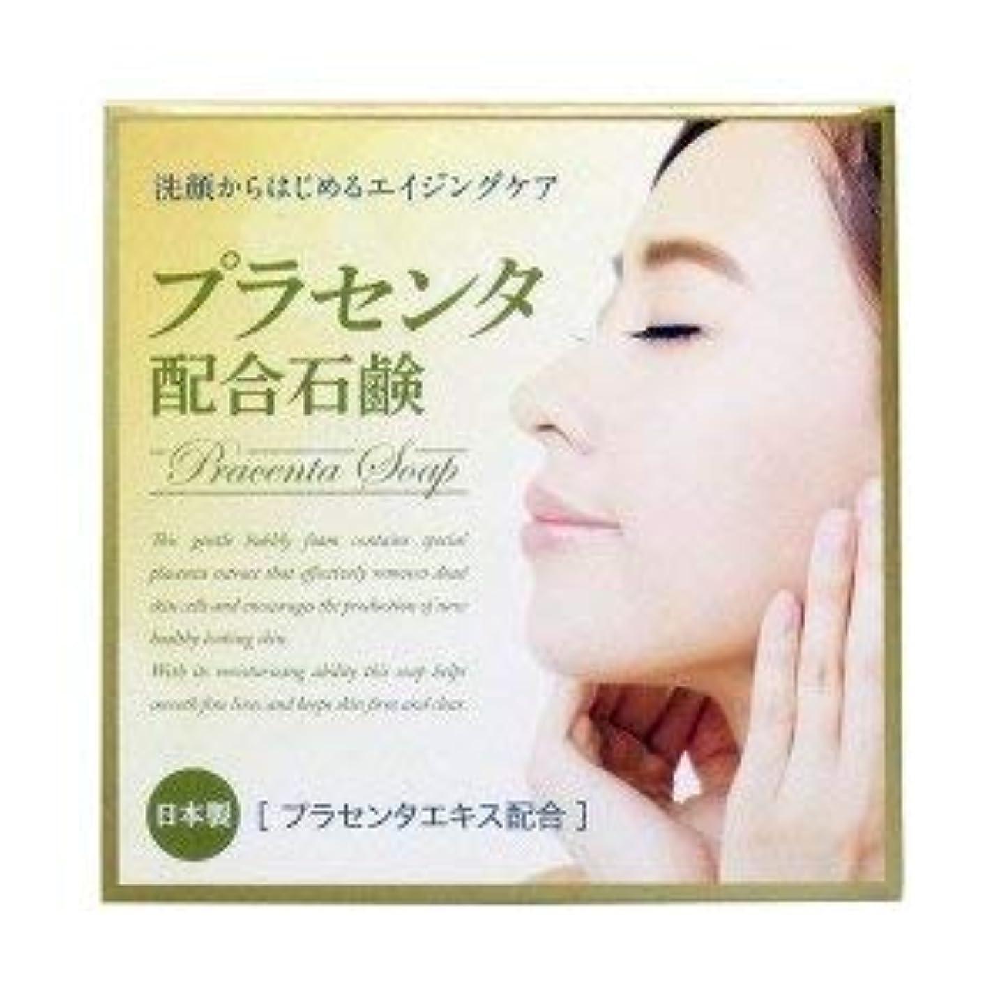 知人すでに経験プラセンタ配合石鹸 80g×2 2個1セット プラセンタエキス保湿成分配合 日本製