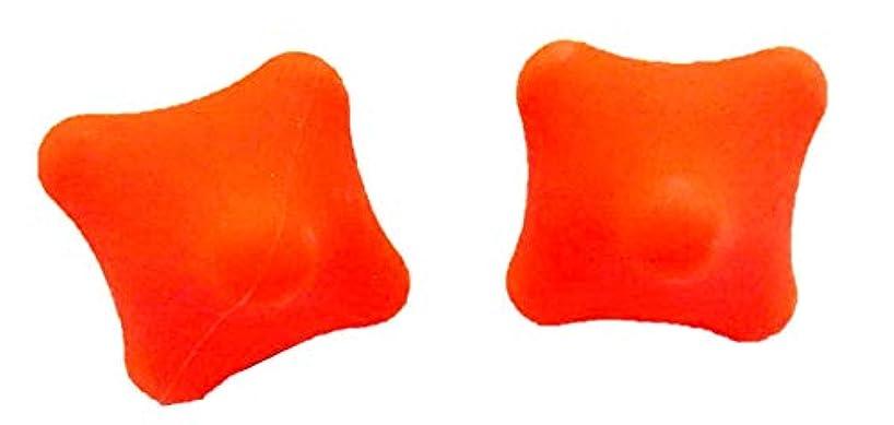 香港コンデンサー風味kira-kira.world 六角形 マッサージ ボール 手指 握力 トレーニング 手のツボ 刺激 ストレス解消 健康 グッズ リハビリ 器具 2個 セット (オレンジ/シリカゲル(対角直径5.8cm))