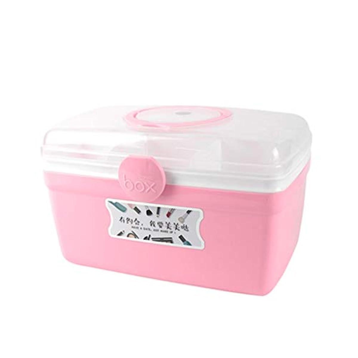 びっくりする排除する伝説SGLI ミニ携帯薬仕分けボックス、小薬ボックス、家庭用多機能収納ボックス (Color : Pink, Size : 27.5cm×17.5cm)