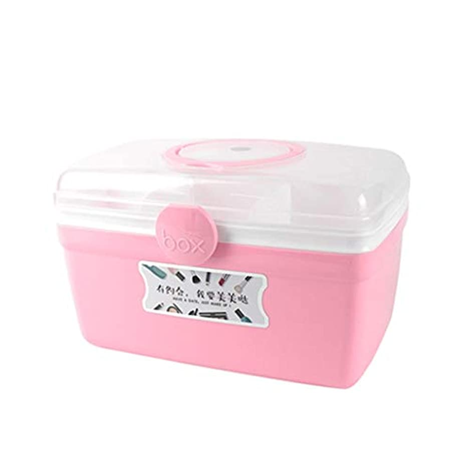 SGLI ミニ携帯薬仕分けボックス、小薬ボックス、家庭用多機能収納ボックス (Color : Pink, Size : 27.5cm×17.5cm)