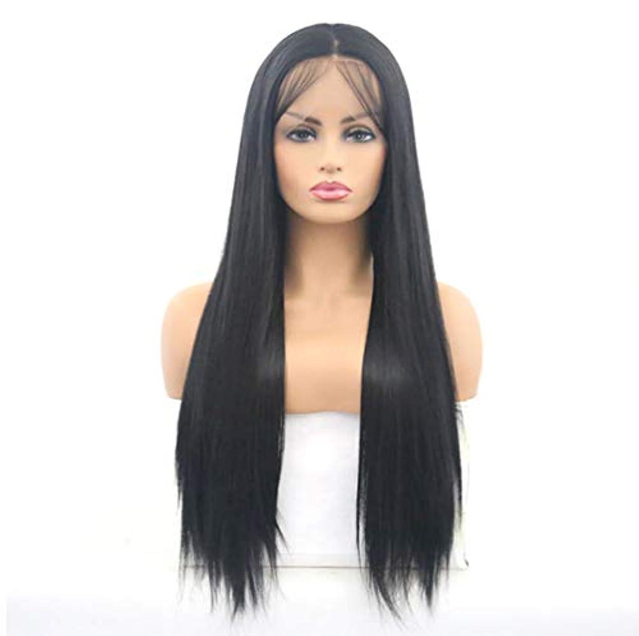 打ち上げる満員主要な女性レースフロントかつらブラジルレミー人間の髪の毛ストレートレースかつら150%密度ナチュラルブラック26インチ