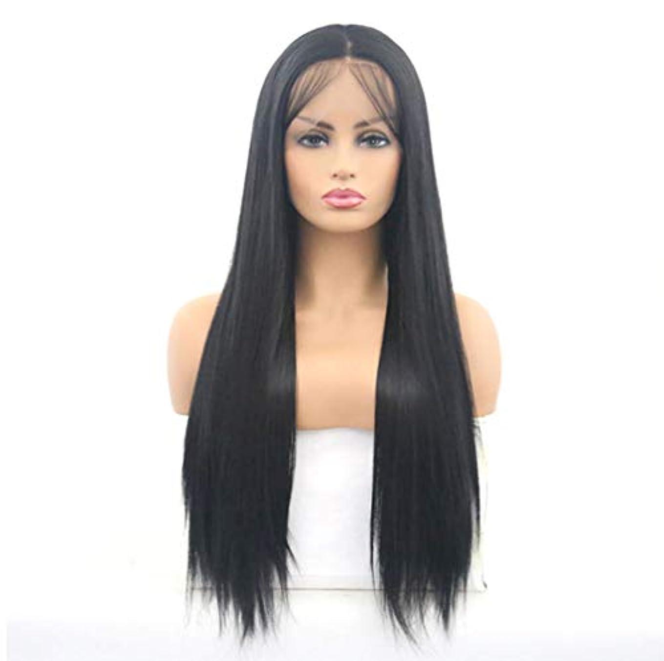 水銀のソビエト怠惰女性レースフロントかつらブラジルレミー人間の髪の毛ストレートレースかつら150%密度ナチュラルブラック26インチ