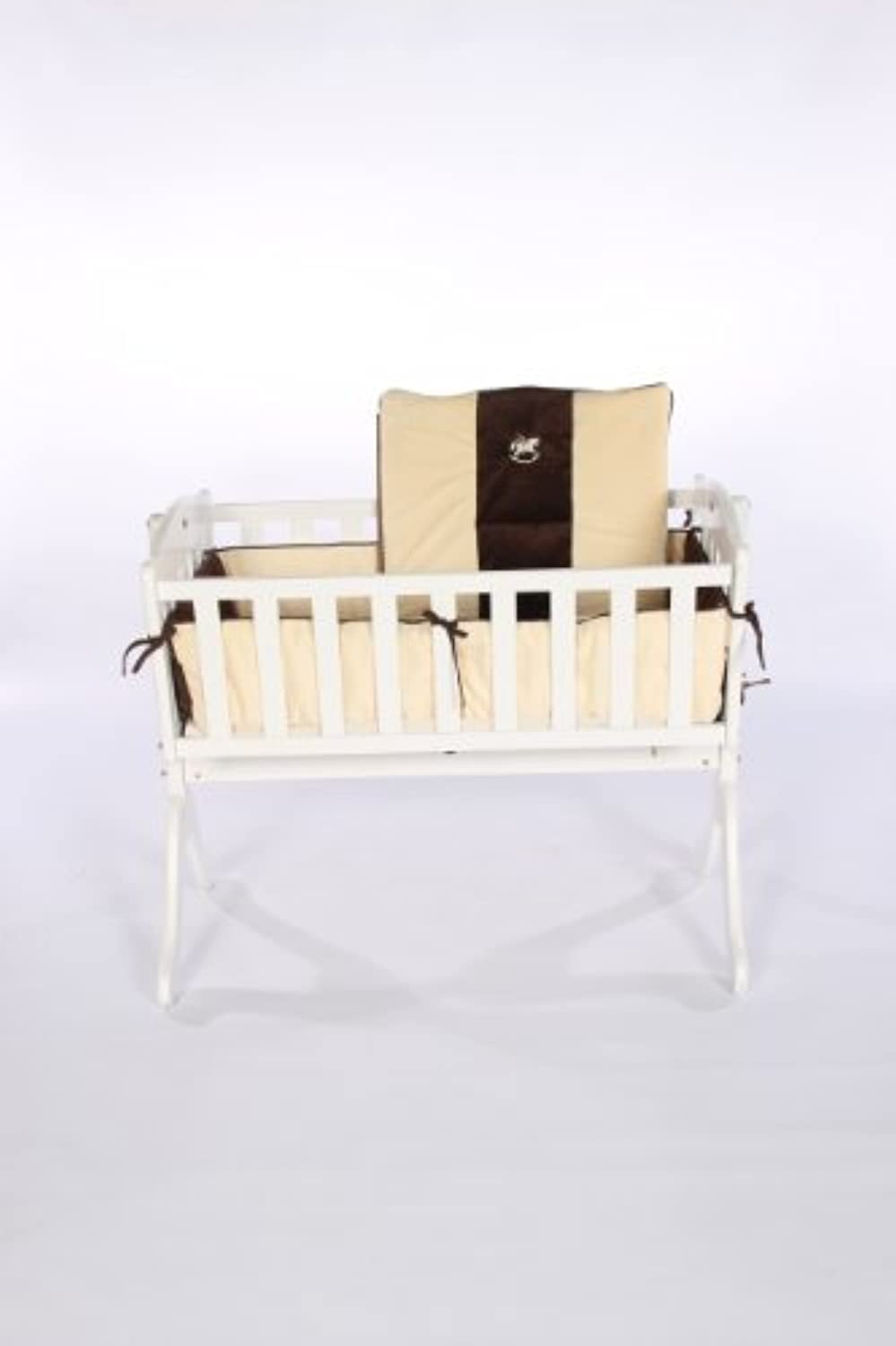 Baby Doll Bedding Cozy Carousel Minky with Embroidery Cradle Bedding Set Ecru [並行輸入品]