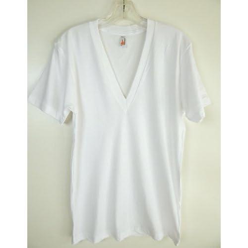 (アメリカンアパレル) AMERICAN APPAREL シアージャージー 深Vネック Tシャツ [並行輸入品] (XS, ホワイト)