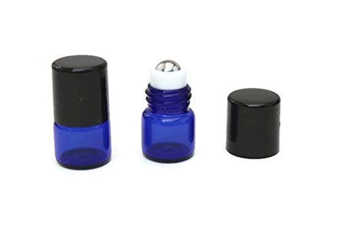 談話ファッション権利を与えるEssential Oil Roller Bottle 72-1 ml (1/4 Dram) COBALT BLUE Glass Micro Mini Roll-on Glass Bottles with Stainless...