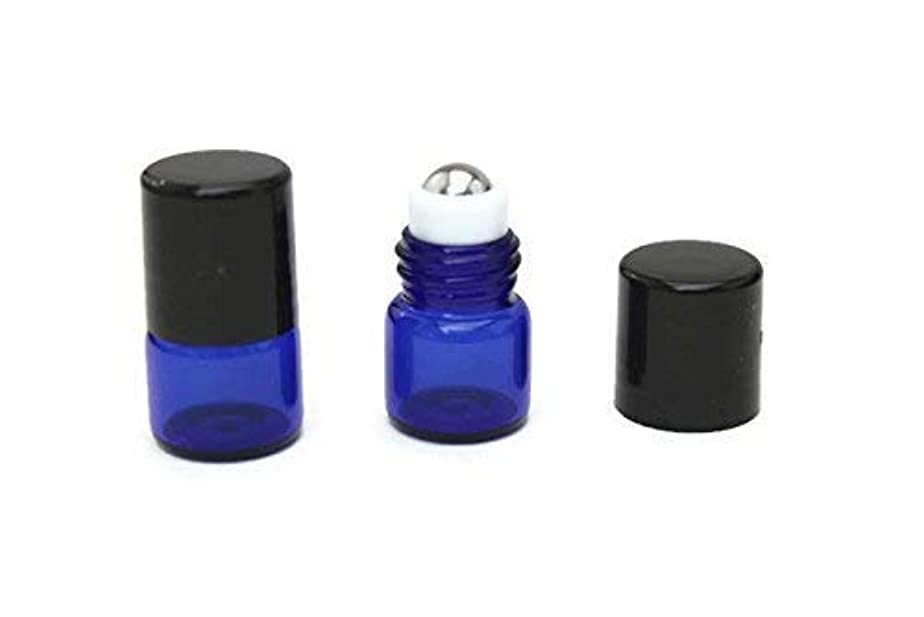 静める資本主義に負けるEssential Oil Roller Bottle 72-1 ml (1/4 Dram) COBALT BLUE Glass Micro Mini Roll-on Glass Bottles with Stainless...