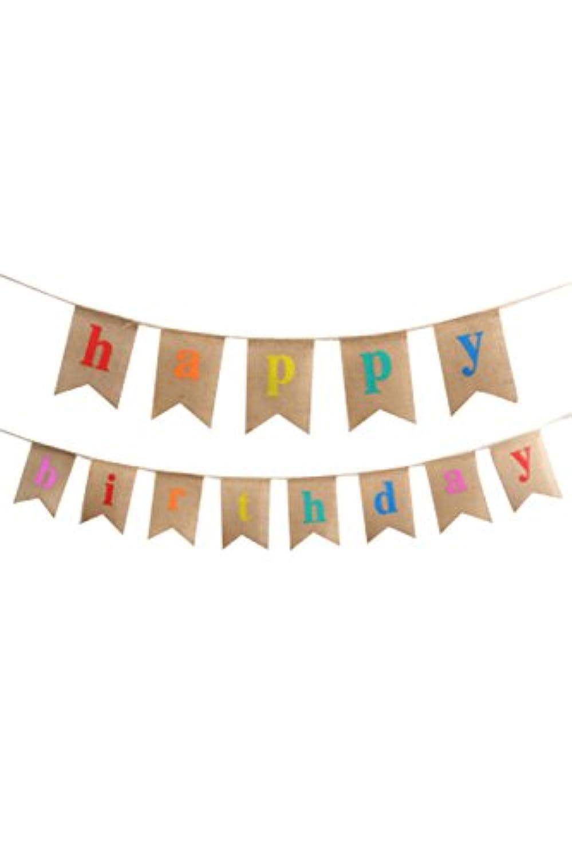Lumierechat 誕生日 ガーランド HAPPY BIRTHDAY パーティー 麻 デコレーション 装飾 a-5276