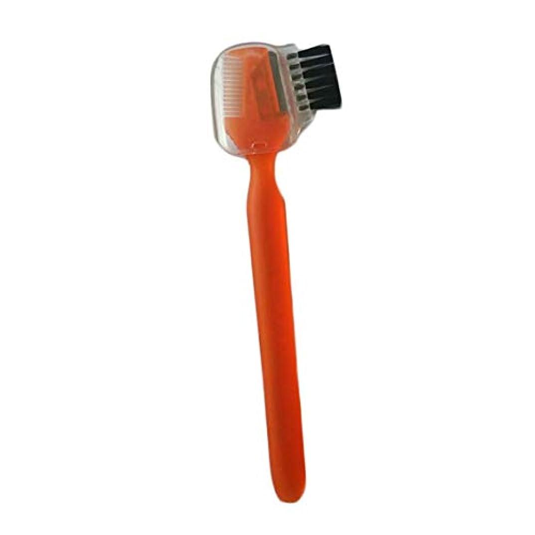 原始的な脅迫シリアルOU-Kunmlef 新しい流行の5つのPC女性は、眉毛櫛で眉毛剃刀トリマー形プロシェービングキットを噛みます(None orange)