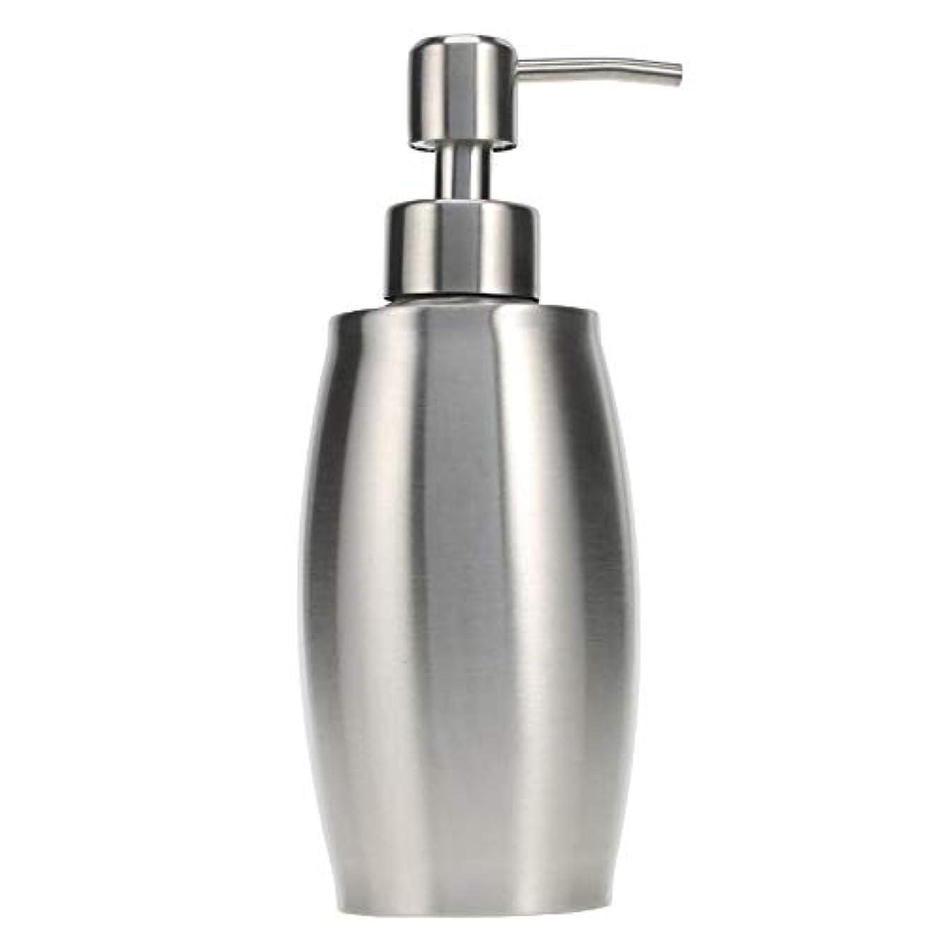 ソープ ポンプ シャンプーディスペンサー 手洗いボトル ステンレス製 350ml 防錆 シャワージェル 石鹸 シャンプー 洗剤 キッチン バスルーム トイレ 洗剤容器 (シルバー)