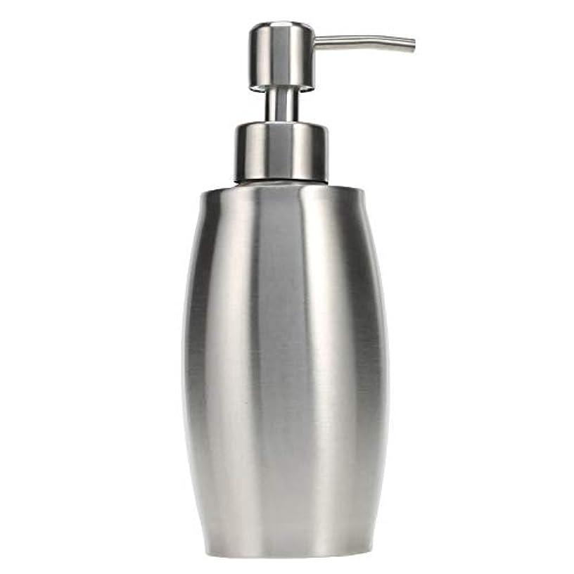 望まない弱める意味のあるソープ ポンプ シャンプーディスペンサー 手洗いボトル ステンレス製 350ml 防錆 シャワージェル 石鹸 シャンプー 洗剤 キッチン バスルーム トイレ 洗剤容器 (シルバー)