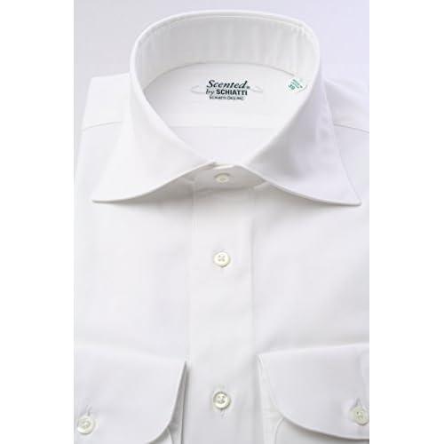 (スキャッティ) Scented 白無地 80番手 双糸 ピンポイントオックス ワイドカラー ドレスシャツ wd2119f-4386