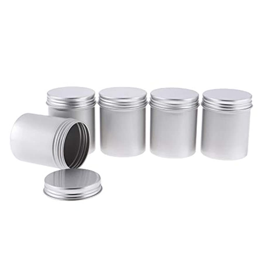 確認してください圧縮された広いToygogo 80mlの金属の錫の銀のアルミニウム鍋は化粧品、スパイス、軟膏、ビード、ボタン5Pcsのための堅く密封されたねじ上カバーが付いている空の円形の容器を震動させます