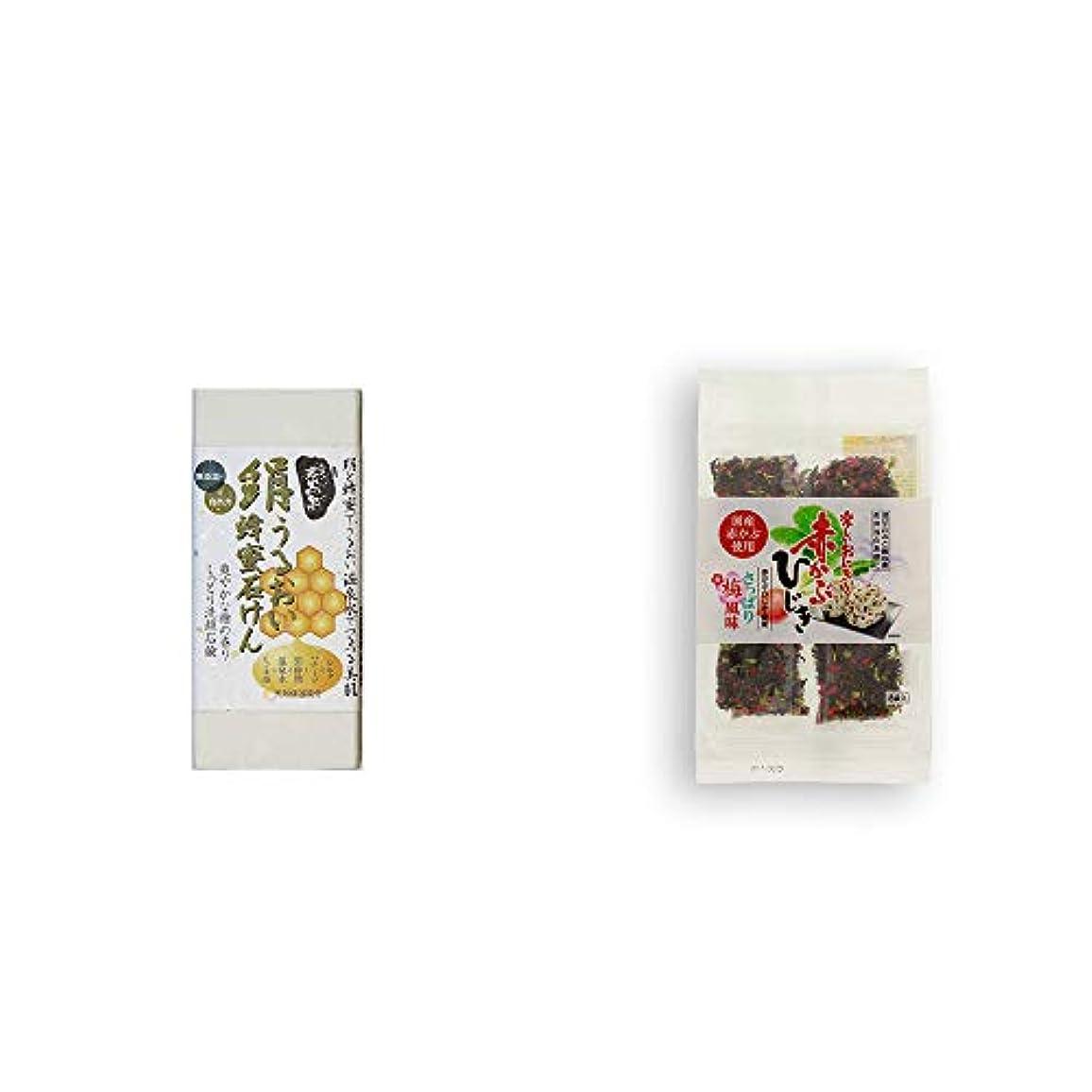 はがき性能長椅子[2点セット] ひのき炭黒泉 絹うるおい蜂蜜石けん(75g×2)?楽しいおにぎり 赤かぶひじき(8g×8袋)