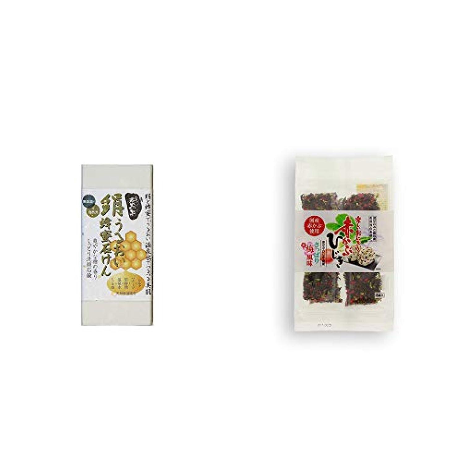 科学者夜明けにシェア[2点セット] ひのき炭黒泉 絹うるおい蜂蜜石けん(75g×2)?楽しいおにぎり 赤かぶひじき(8g×8袋)