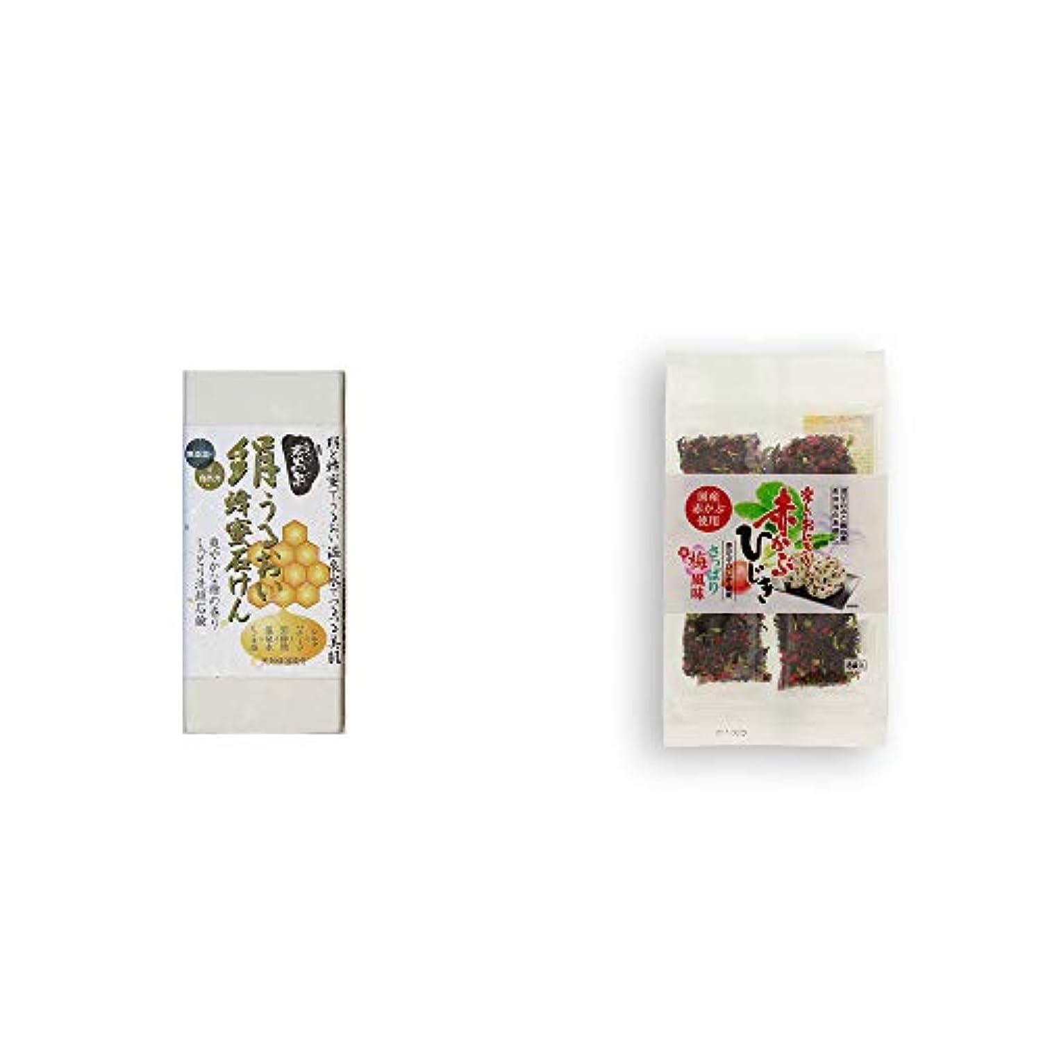 歌手護衛カヌー[2点セット] ひのき炭黒泉 絹うるおい蜂蜜石けん(75g×2)?楽しいおにぎり 赤かぶひじき(8g×8袋)