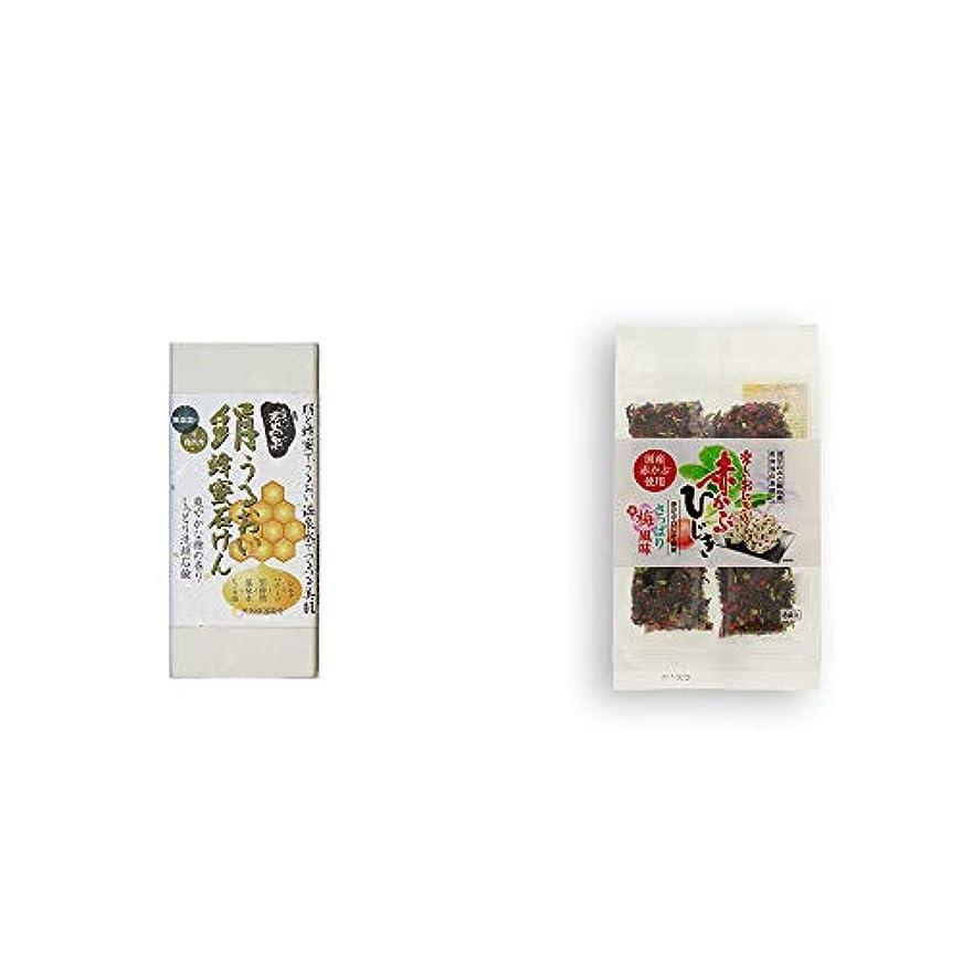経由で病気家具[2点セット] ひのき炭黒泉 絹うるおい蜂蜜石けん(75g×2)?楽しいおにぎり 赤かぶひじき(8g×8袋)