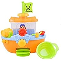 Dimple子Bathtime Pirate Ship Bathtub Toy with Water Cannon