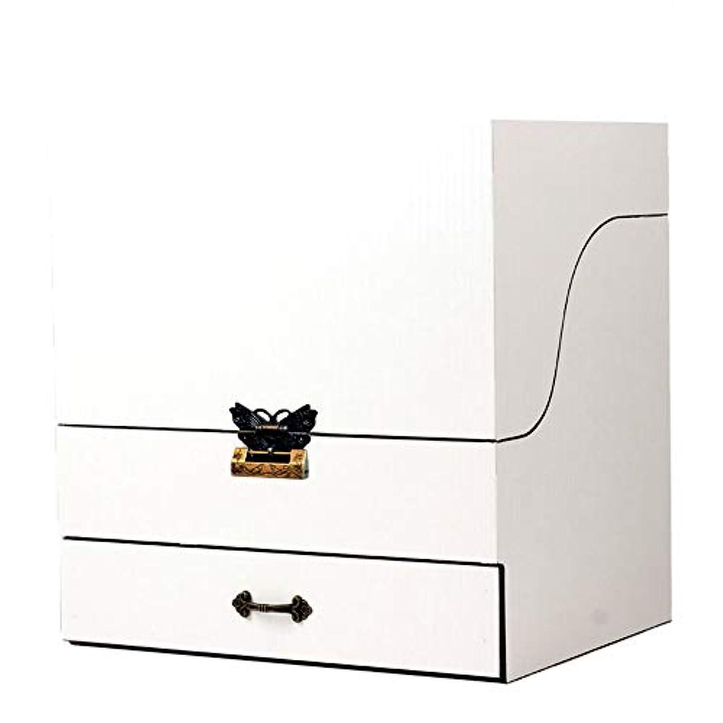 絶滅ボクシングライラックメイクボックス コスメボックス ジュエリー収納ボックス 鏡付き 大容量 木製 化粧品収納 ジュエリー収納 小物入り おしゃれ 可愛い ホワイト コルク ピンク プレゼント