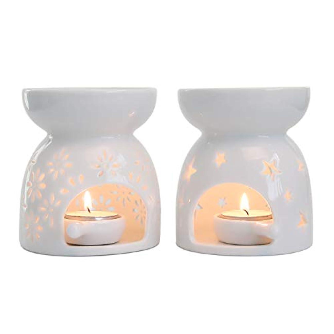 ラック裂け目応用Rachel's Choice 陶製 アロマ ランプ ディフューザー アロマキャンドル キャンドルホルダー 花形&星形 ホワイト 2点セット