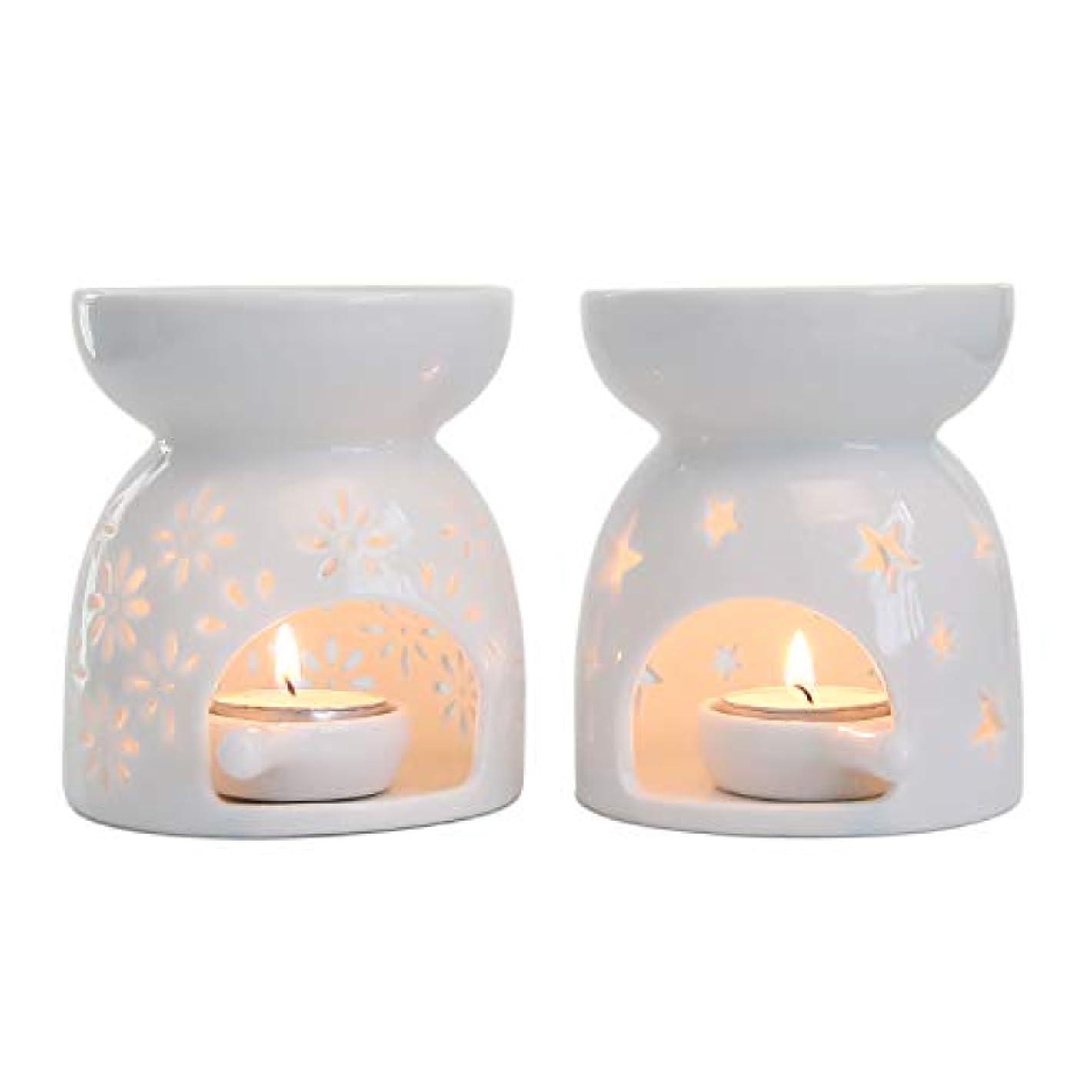 メーカー歩道資金Rachel's Choice 陶製 アロマ ランプ ディフューザー アロマキャンドル キャンドルホルダー 花形&星形 ホワイト 2点セット