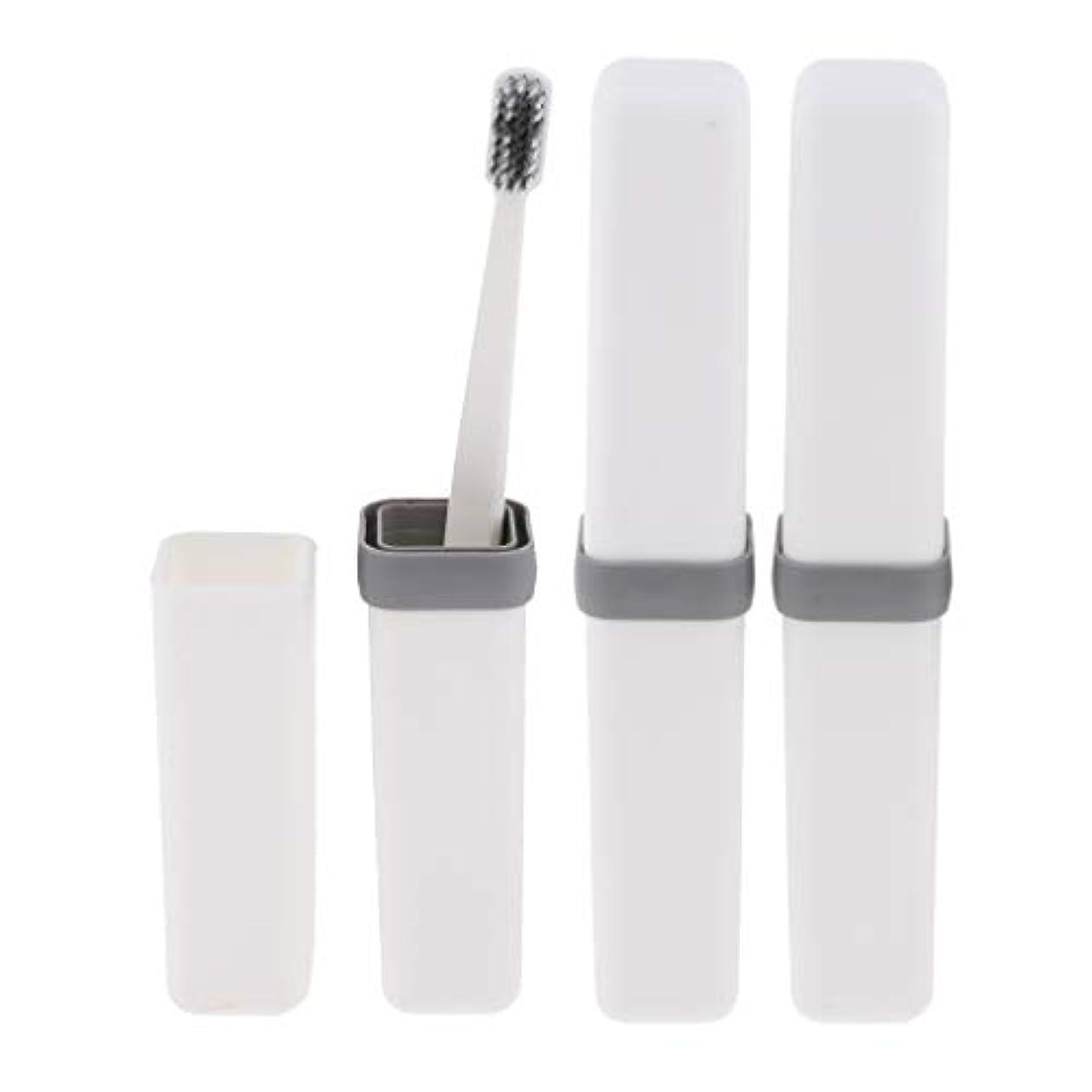 ストライプご近所スノーケル歯ブラシ 歯磨き 歯清潔 収納ボックス付 旅行 キャンプ 学校 軽量 携帯 実用的 3個 全4色 - 白