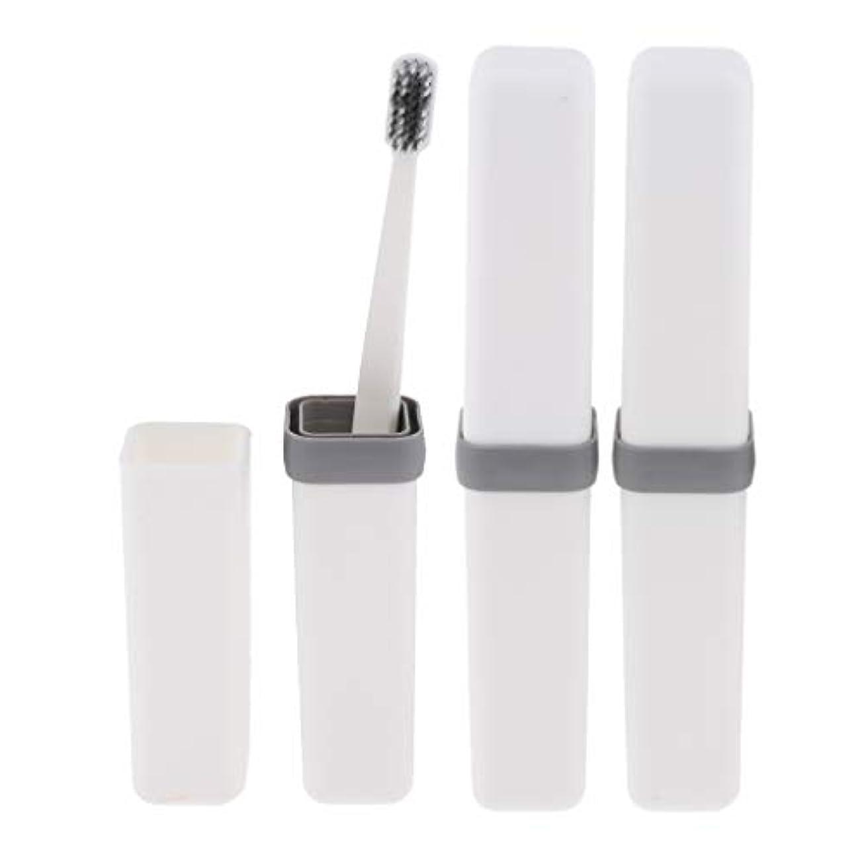 高い受け入れた推論歯ブラシ 歯磨き 歯清潔 収納ボックス付 旅行 キャンプ 学校 軽量 携帯 実用的 3個 全4色 - 白