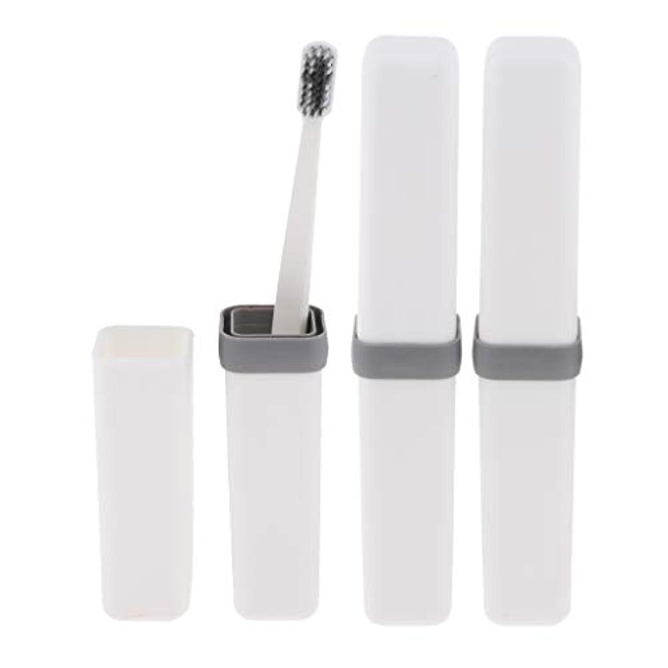 毒液キノコ手段Fenteer 歯ブラシ 歯磨き 歯清潔 収納ボックス付 旅行 キャンプ 学校 軽量 携帯 実用的 3個 全4色 - 白