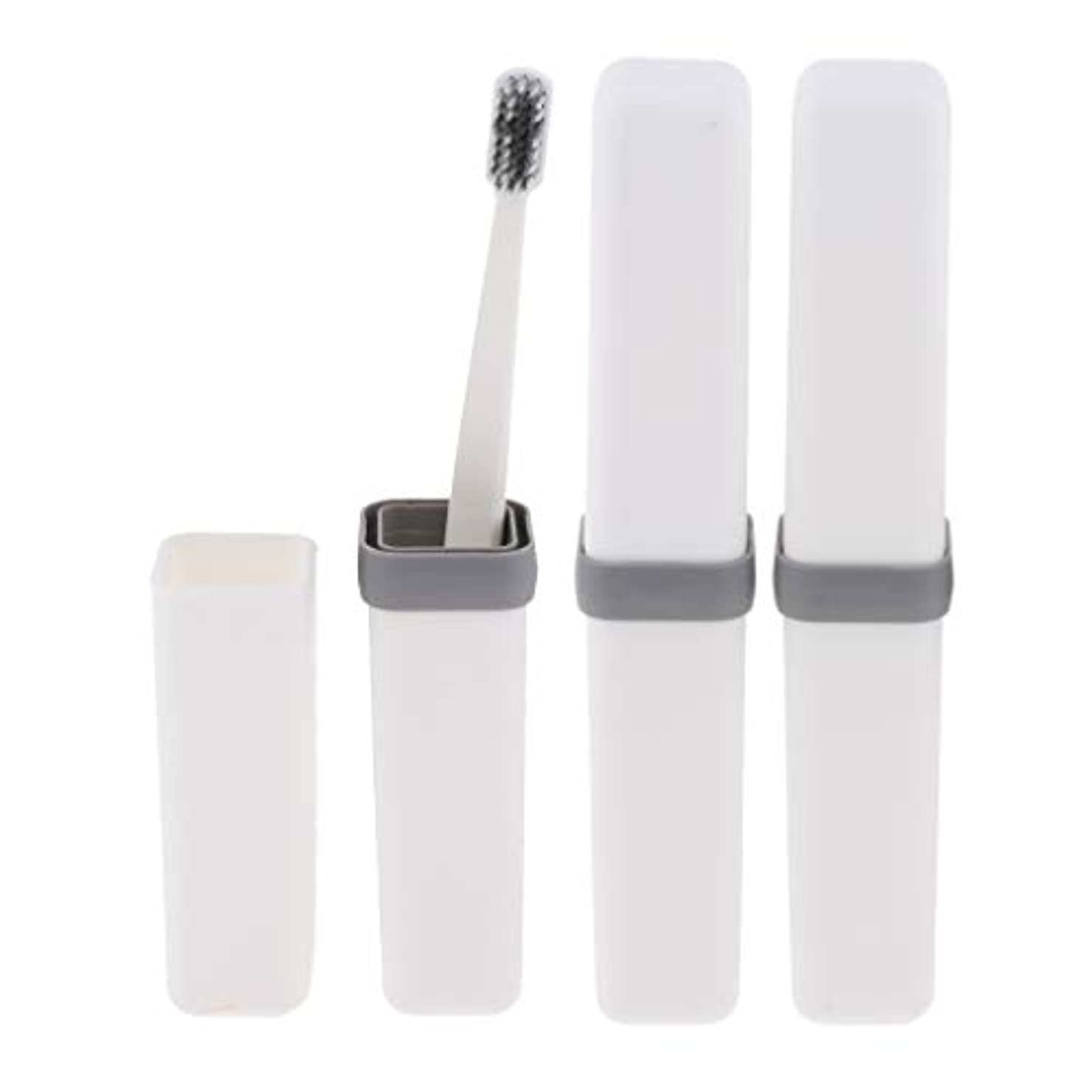 リーズ印刷する年次Fenteer 歯ブラシ 歯磨き 歯清潔 収納ボックス付 旅行 キャンプ 学校 軽量 携帯 実用的 3個 全4色 - 白