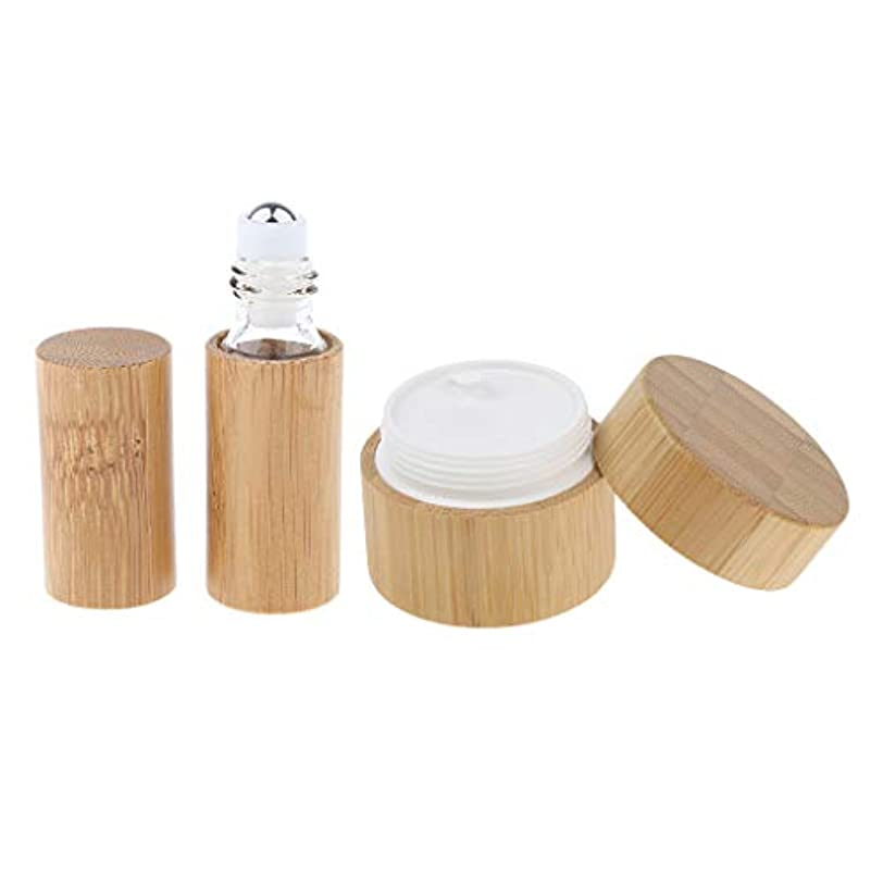 彼機構影2点 天然竹 リップ クリームケース ジャー 空ボトル 小分け 容器 詰め替え 旅行用