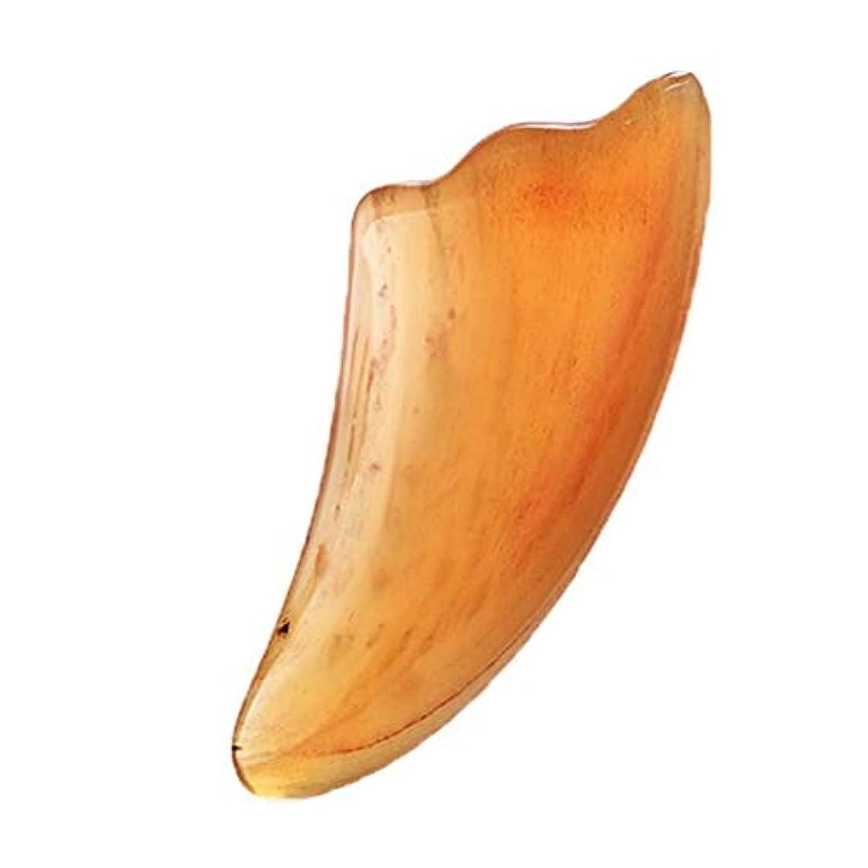 未使用取り出す雰囲気グアシャマッサージツールフェイスヘッドスクレーピングバッファローホーングアシャスクレーパー、SPA理学療法ボードトリガーポイント鍼 (Color : 黄)