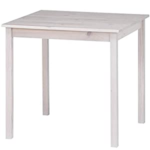 アイリスプラザ ダイニングテーブル パイン材 ホワイト 幅約75×奥行約75×高さ約72cm 97394